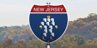 """new jersey highway sign with """"sheriff of toilet paper"""" meme"""