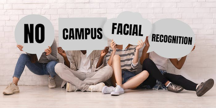 """young people holding signs that read """"no campus facial recognition"""""""