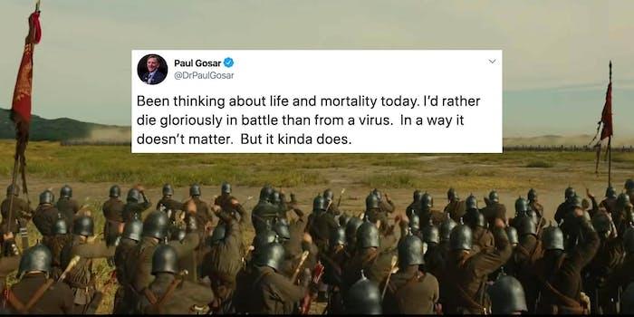 A tweet from Paul Gosar over an image of a battle
