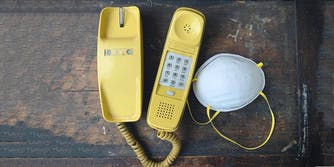 A telephone and dust mask