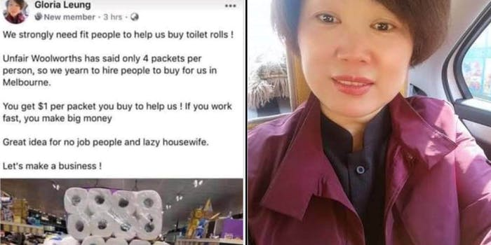 A Chinese woman next to a Facebook post with a picture of toilet paper