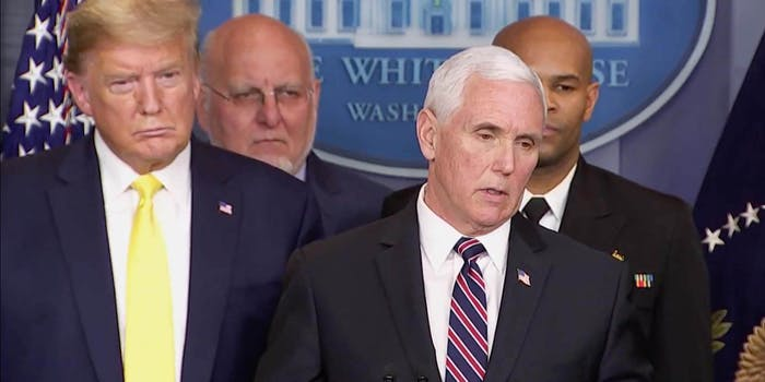 Vice President Mike Pence and Donald Trump speaking to reporters about Trump coronavirus testing
