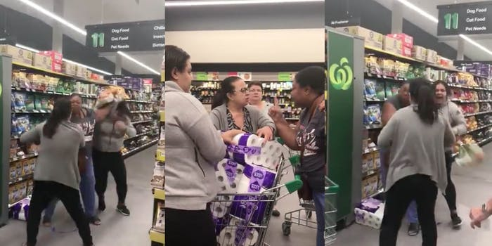viral video of women fighting over toilet paper