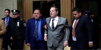 Harvey Weinstein walking outside of court