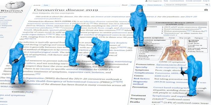 little scientists in hazmat suits examining Wikipedia's coronavirus page
