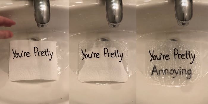 """""""you're pretty"""" message on paper towel becomes """"you're pretty annoying"""" when wet"""