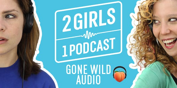 2 girls 1 podcast logo showing the two hosts wearing headphones