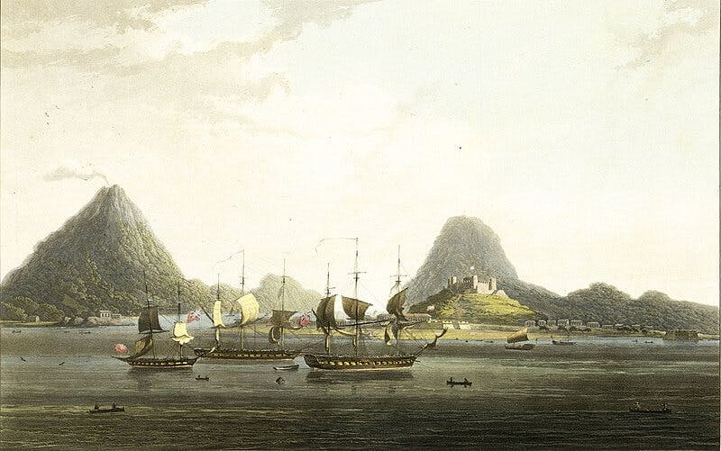 British ships off the coast of the Banda Islands