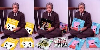 Pictures of Bill Clinton holding different album covers