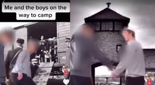 Screenshots show the two students dancing and celebrating a trip to Auschwitz