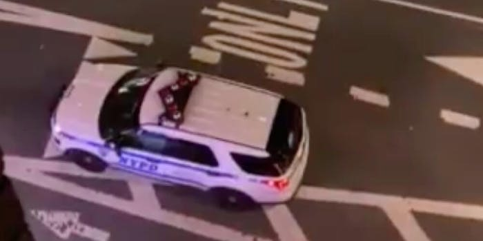 Screenshot shows the NYPD car that was blasting the abusive messages