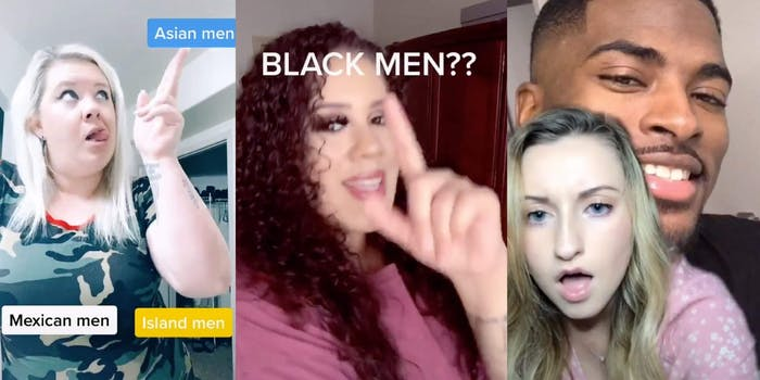 Three screenshots show different women commenting on their preference for Black men