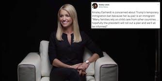Fox News host Ainsley Earhardt next to a tweet