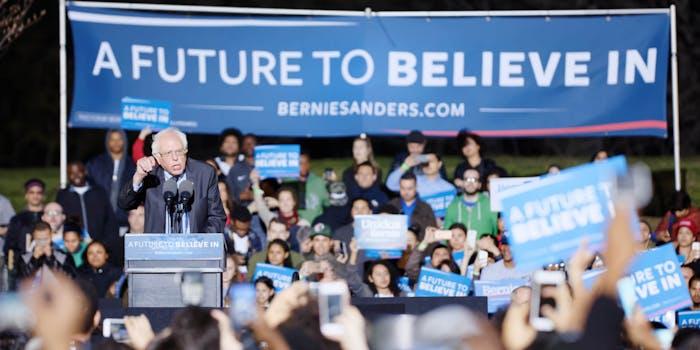Bernie Sanders speaks to crowd in New York City