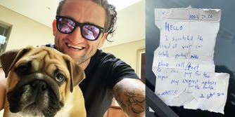 a picture of casey neistat next to a note he left on a car after he scraped it