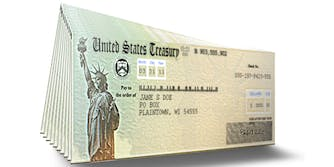 A stack of checks from the United States Treasury