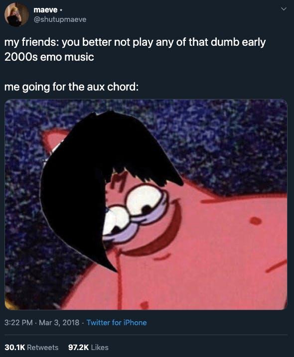 Emo meme showing an emo Patrick Star with a side swept fringe