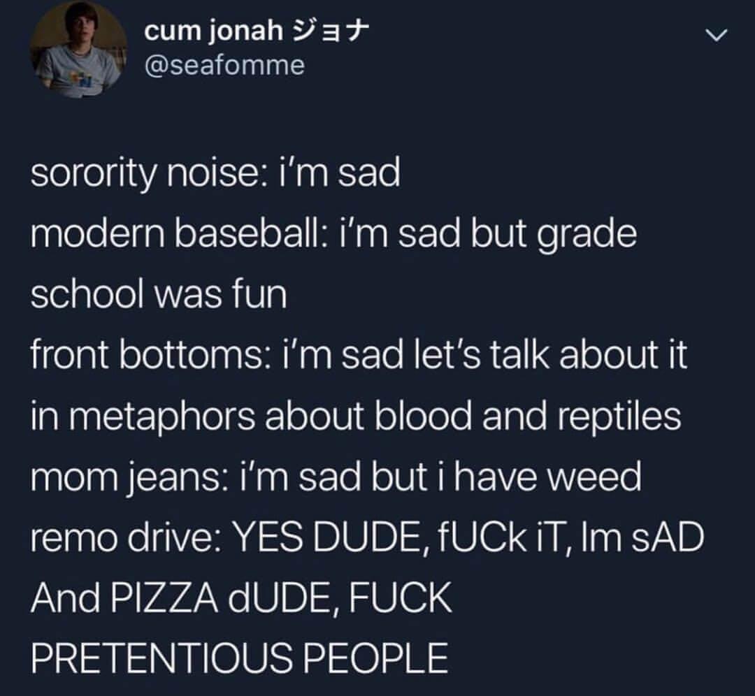 "Emo tweet showing how different emo bands say ""I'm sad"""