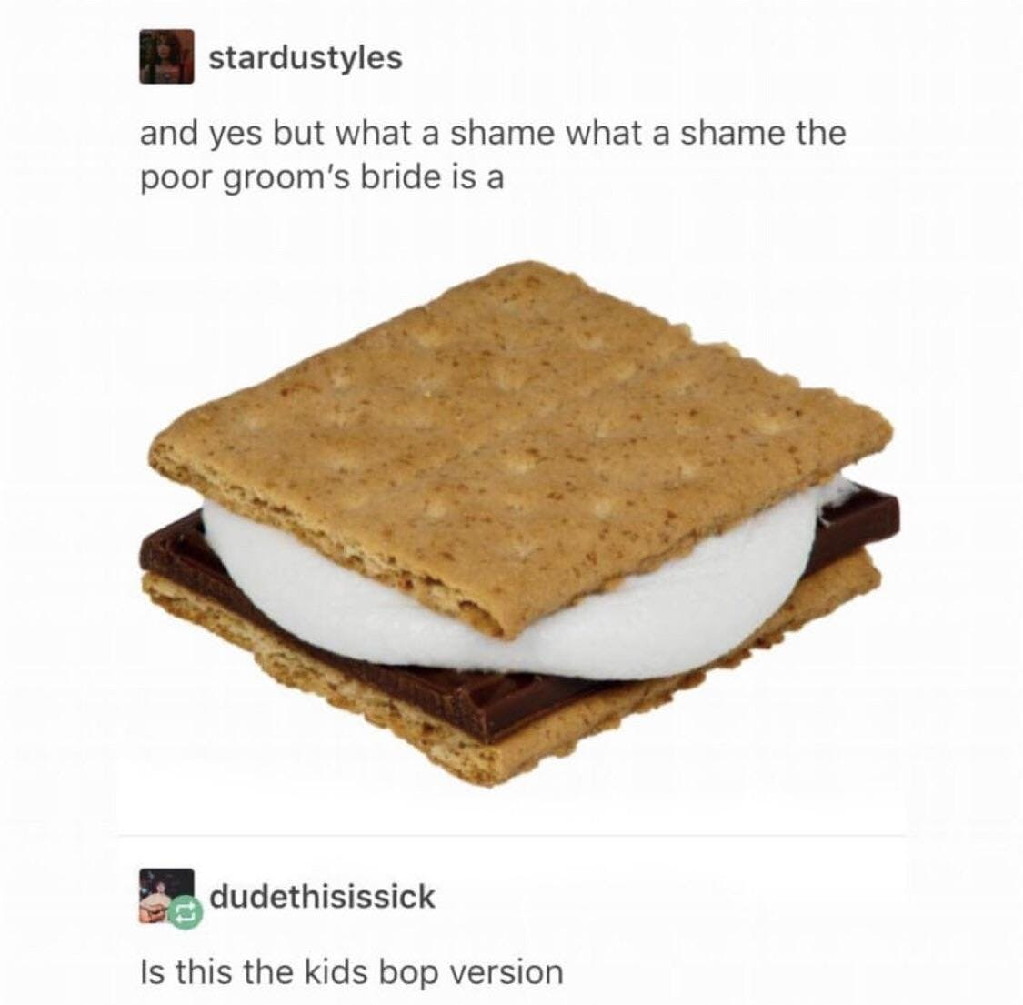 """Emo meme that says """"and yes but what a shame what a shame the poor grrom's bride is a"""" then shows a picture of a s'more"""