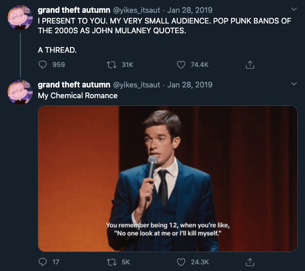 A twitter thread showing John Mulaney quotes as Emo bands
