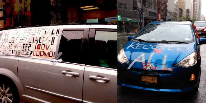 Photos show posters marked on cars protesting the stimulus package that leave out undocumented, essential workers