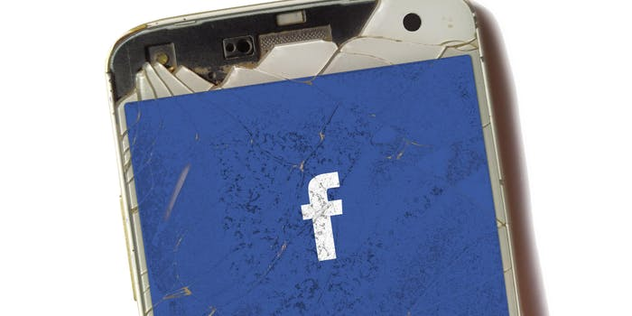 facebook logo on broken phone