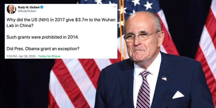 Rudy Giuliani next to one of his tweets