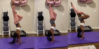 Simone Biles participating in the handstand challenge