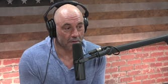 Joe Rogan speaking into a microphone