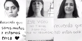 women holding signs of advice for women who are in quarantine with their abusers