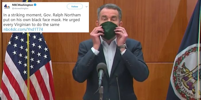 Virginia Gov. Northam wearing a face mask