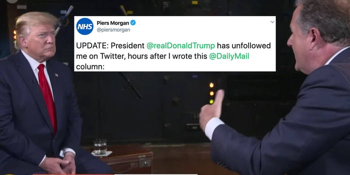 Donald Trump next to a tweet and Piers Morgan