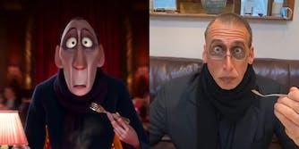 man dressed as anton ego from Ratatouille movie