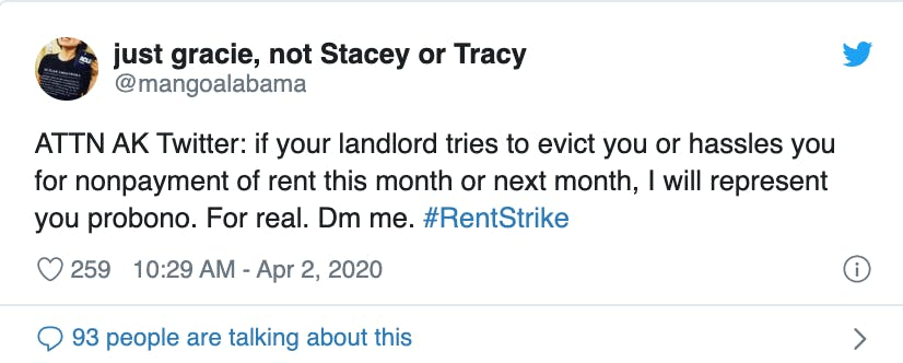 support-for-rent-strike-on-Twitter