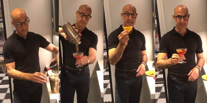 stanley tucci making a negroni