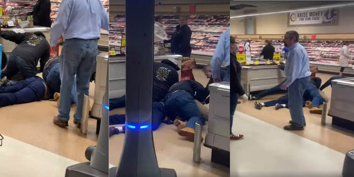 grocery store customers restrain