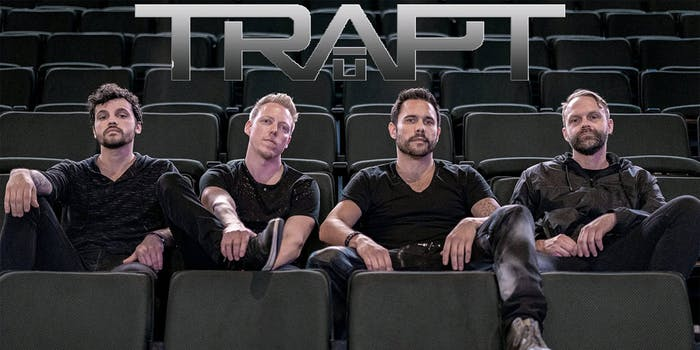 trapt promotional poster, sitting in empty theater