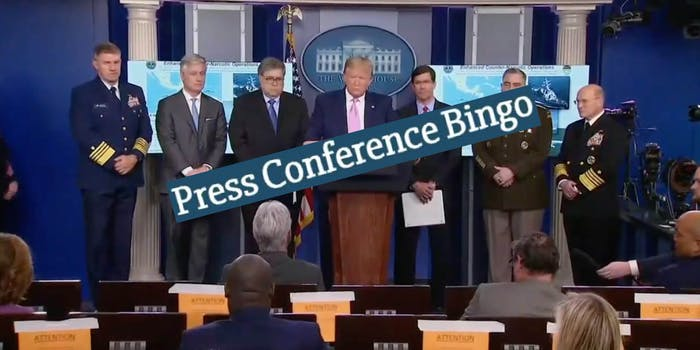 Press conference bingo on top of a White House press conference