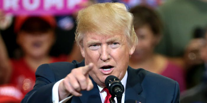 Trump pointing his finger during a rally