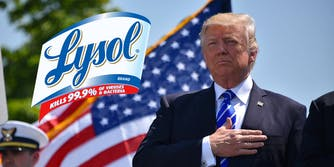 The Lysol logo next to President Donald Trump