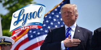 The Lysol logo next to President Donald Trump