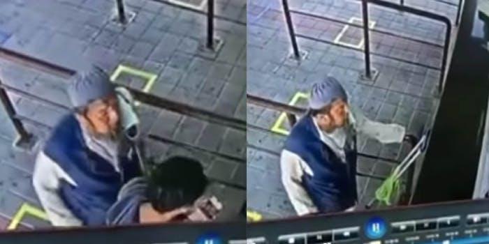 video anan sahoh coronavirus train station spitting