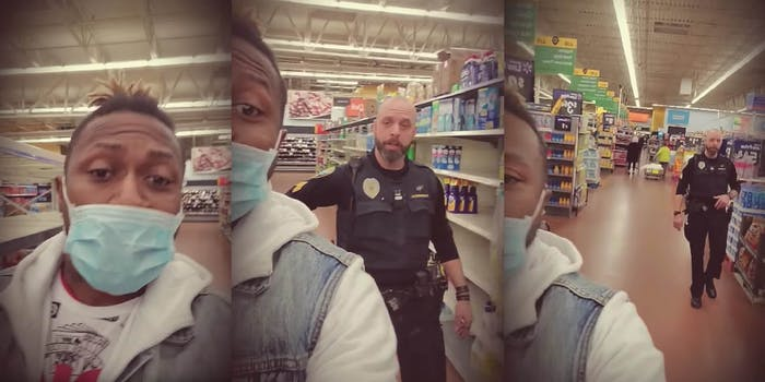 policeman escorting a Black man out of walmart for wearing a face mask