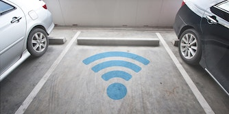 wifi symbol spray painted in empty parking space