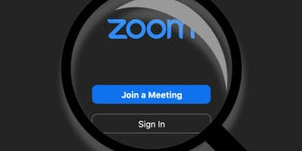 A magnifying glass over Zoom software