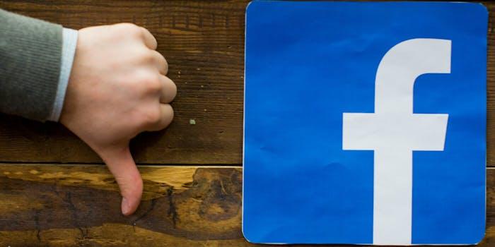 Thumbs down next to Facebook logo