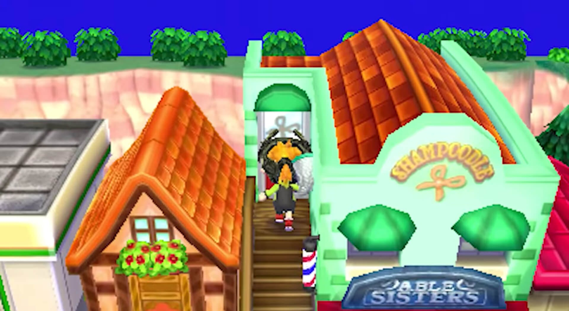 Photo of Animal Crossing: New Leaf's Shampoodles salon, a key starting point in this hair guide.