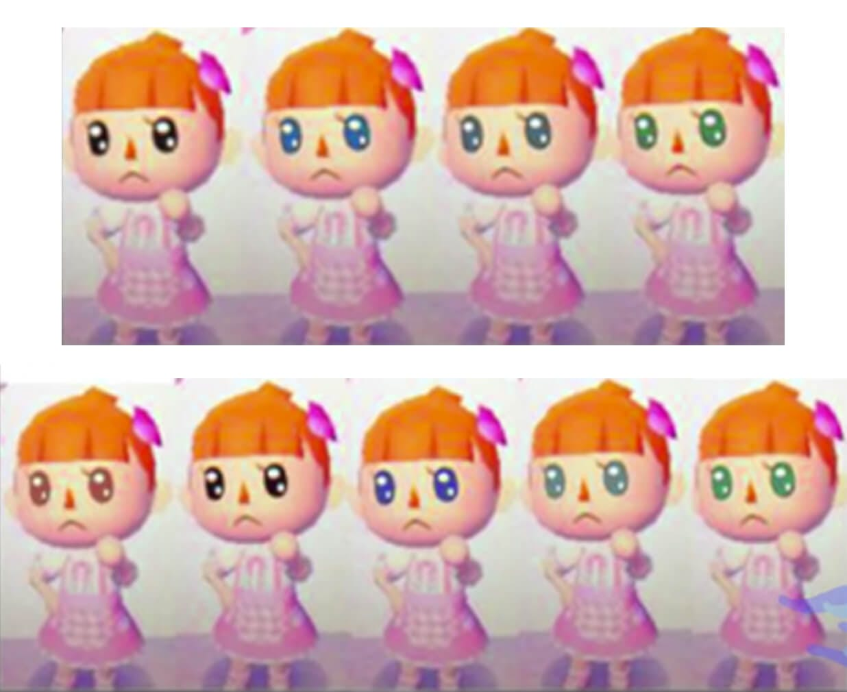 Photo of Animal Crossing: New Leaf that shows the menu for how to change your eye color in the game.
