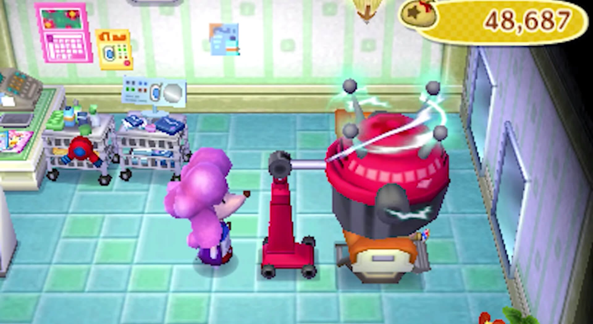 Photo of Shampoodle's hair salon which demonstrates how to change your makeup color in Animal Crossing: New Leaf.