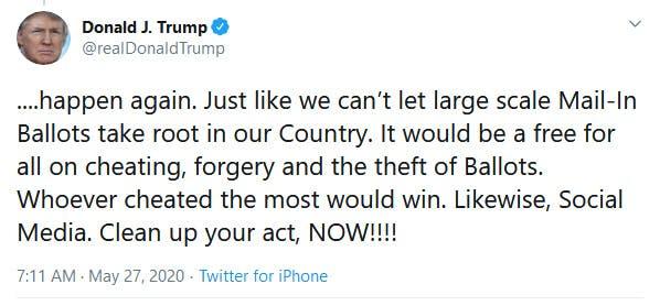 Donald Trump Social Media Close Them Down Tweet Twitter Fact Check